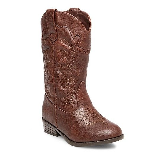 Cat & Jack Toddler Girls' Natalia Authentic Cowboy Western Boots sport classic pull straps, scallop, quarter stitching, and heel caps. These toddler girl boots are easy to put on. She can wear these toddler girl cowboy boots with dresses and pants.