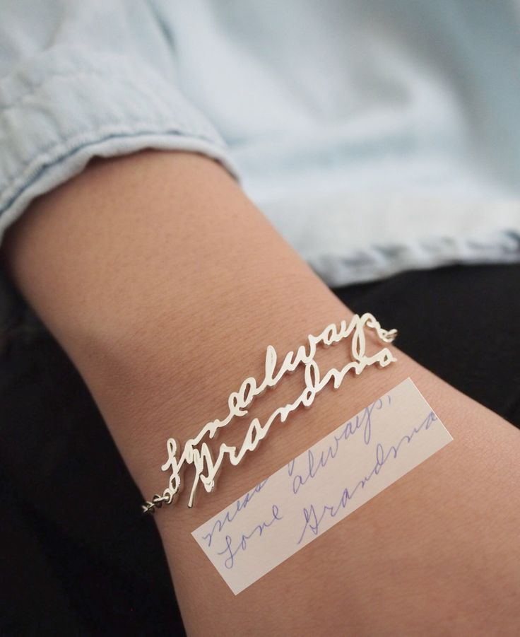 Memorial Signature Bracelet - Personalized Handwriting Bracelet - Keepsake Jewelry in Sterling Silver - Bridesmaid Gift by CaitlynMinimalist on Etsy https://www.etsy.com/listing/209384686/memorial-signature-bracelet-personalized