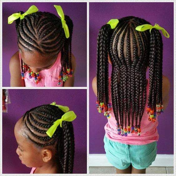 Braided half up pigtails