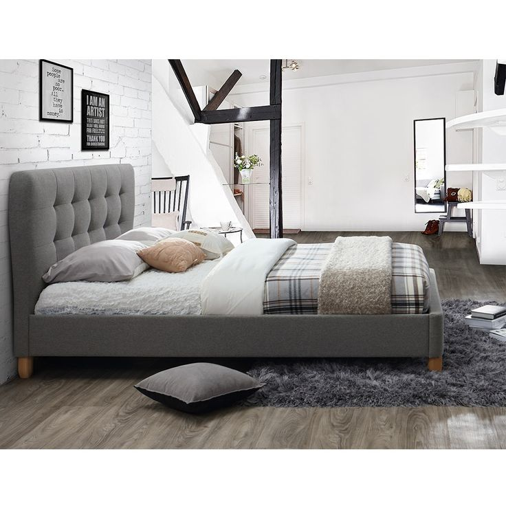 STOCKHOLM UPHOLSTERED BED in Grey by Birlea | White and Grey Bedroom | Exposed Beams | White Brick Wall | Grey Bed
