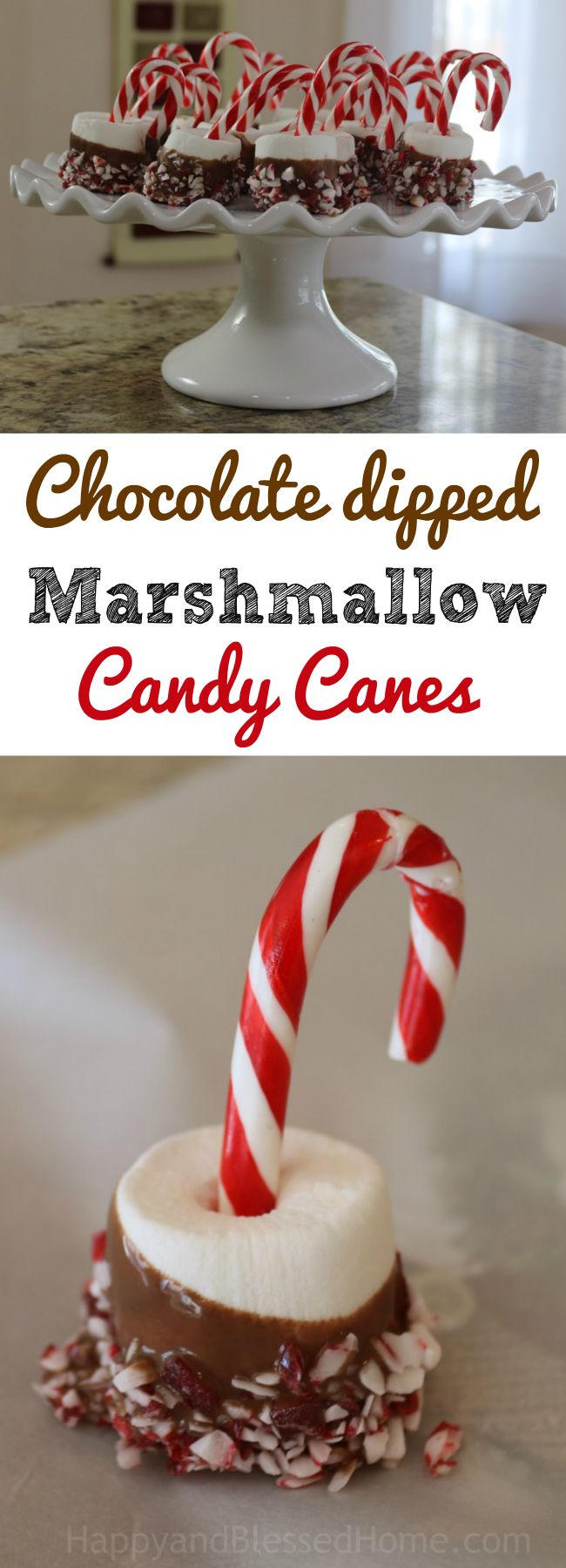 Easy recipe for Chocolate dipped Marshmallow Candy Canes - the perfect treat for a holiday or Christmas party. Perfect for kids and adults, they're little mini desserts that combine two of my favorite flavors - chocolate and peppermint. Spread a little holiday CHEER!