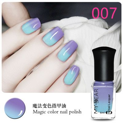 2016 1Pcs 6ml Available Thermal Nail Polish Peel Off Polish with Paillette Temperature Color Changing Nail Polish 19Colors
