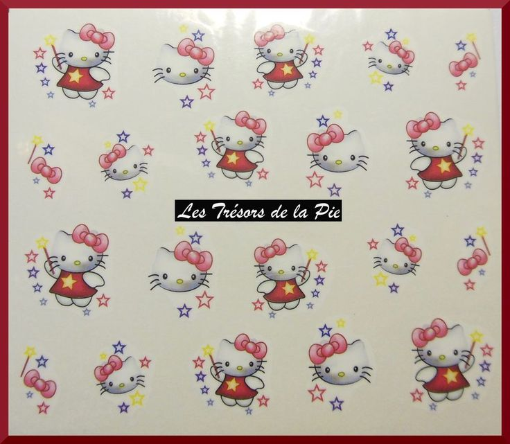 STICKERS ONGLES WATER DECAL (x20) - Nail art - Hello kitty - Multicolore