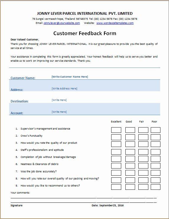 Feedback Form Template Word New Customer S Feedback Form In 2020