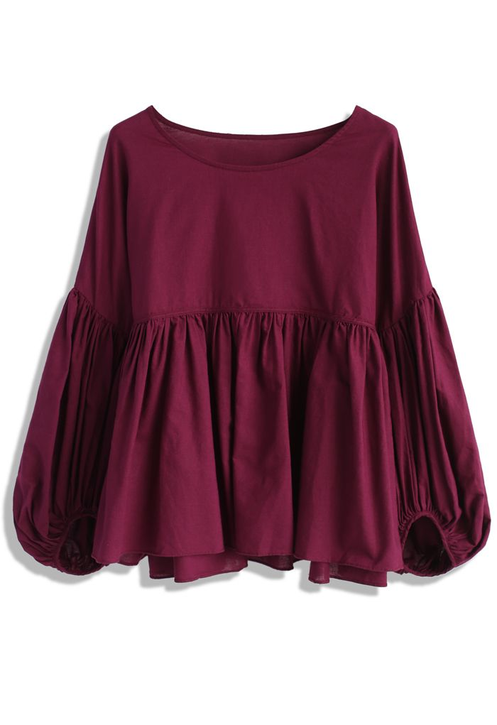 Fuschia Reverie Dolly Top with Bubble Sleeves - New Arrivals - Retro, Indie and Unique Fashion