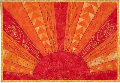 "Quilt Inspiration. Aurora Sunshine quilt, 10 x 14"",  free pattern by Marlis Bennett for Bernina"