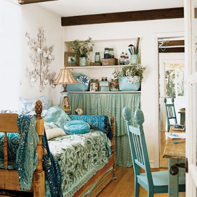 room inspiration for next year?: Boho Chic, Shabby Chic Decor, Small Bedrooms, Blue Bedrooms, Twin Beds, Bohemian Bedrooms, Small Spaces, Guest Rooms, Shabby Chic Bedrooms