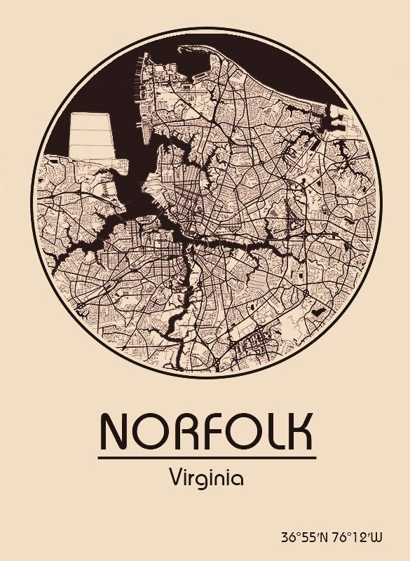 Karte / Map ~ Norkolk, Virginia - Vereinigte Staaten von Amerika / United States of America / USA