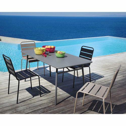 chaise de jardin en mtal taupe - Salon De Jardin Mtal Color