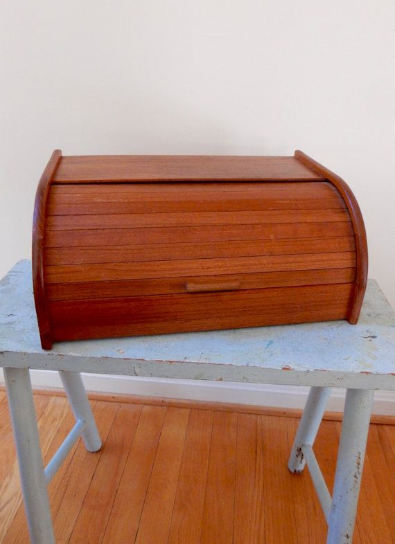 60s Teak Roll Top Bread Box Midcentury Modern by TooArtfulForYou