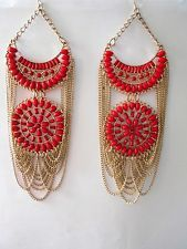 XXL Red and Gold Chain Statement Earrings