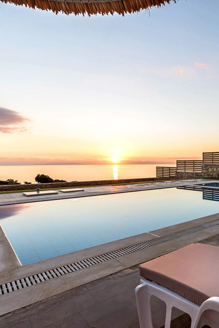 Swim into the sunset at Triopetra Villas in Plakias Rethymno #crete #villa #TheHotelgr #wanderlust #voyage #sunset #pool