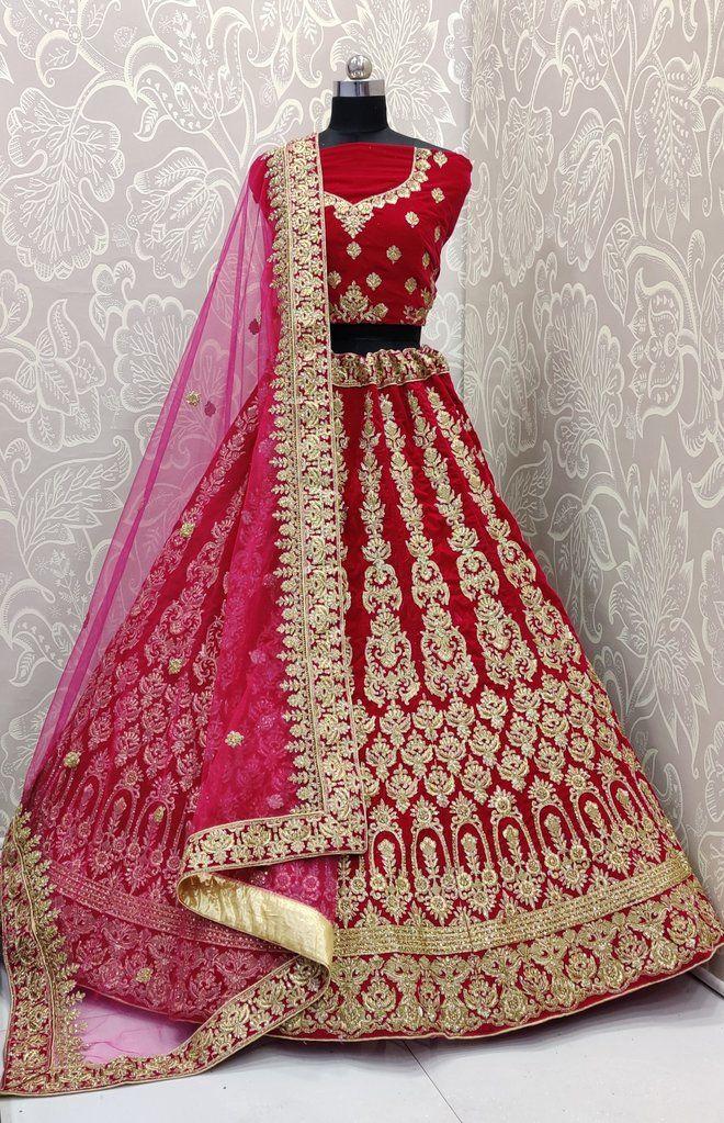 Pure red bridal velvet lehnga choli net dupatta,worked with zari and cutdana stone ethnic wear indian wear