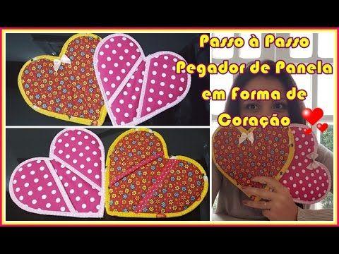 Acompanhe o passo à passo de como fazer um pegador de panelas e travessas de tecido em forma de coração. Para pegar o molde acesse: http://www.vivartesanato....