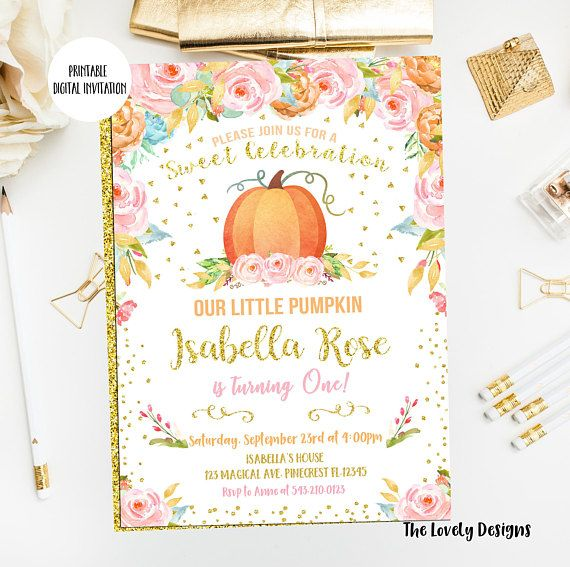 Pumpkin Invitation Pumpkin Birthday InvitePrintableFirst