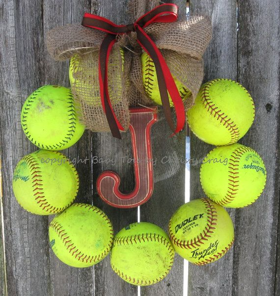 Hey, I found this really awesome Etsy listing at https://www.etsy.com/listing/172521805/the-original-softball-wreath-with-burlap