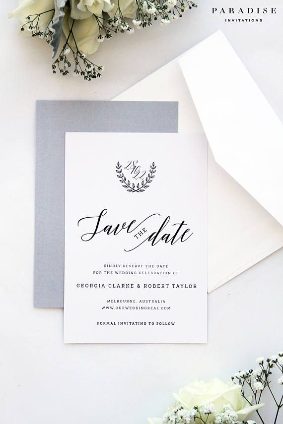 Ivy Silver Save the Date Cards, Printable Save the Date Cards