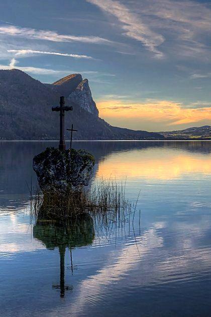 Cross on a rock, Mondsee, Salzkammergut, Austria