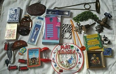 VTG/NOW Junk Drawer Lot, hardware, smalls, playing cards, mixed metals/materials