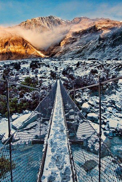 Swing Bridge, Mount Aspiring National Park, New Zealand
