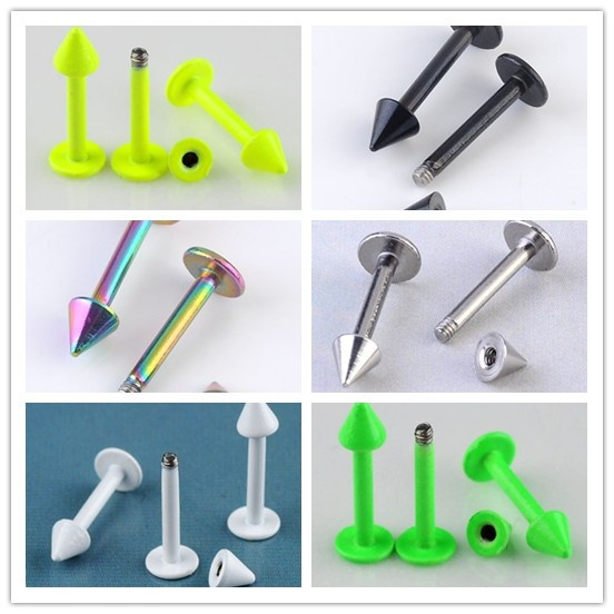 6colors 16G Stainless Steel Labret Lip Ring Spike Stud Piercing Chip Bars