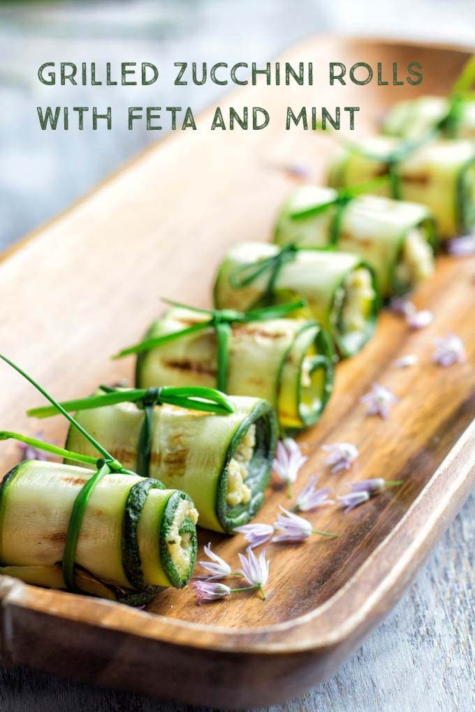 Grilled Zucchini Rolls with Feta and Mint are super easy to make, healthy and a crowd pleaser at parties.