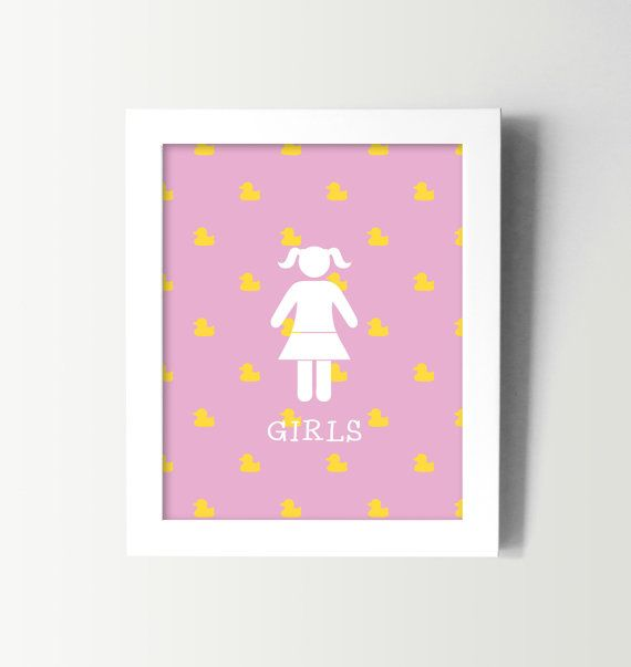 Little Girls Bathroom Sign   Kids Bathroom Wall Art   Kids Bath Decor   Girl  Restroom Decor   Rubber Ducky Bathroom   Fun Bathroom Prints