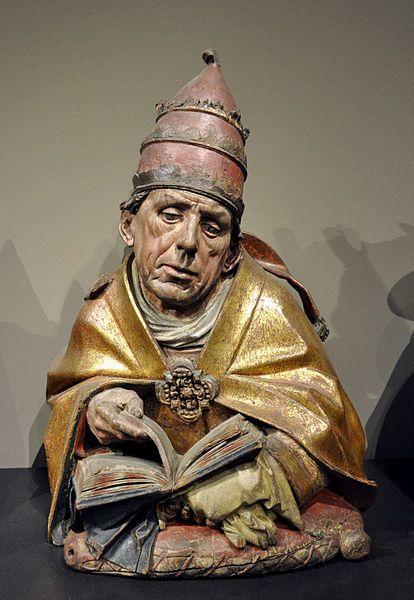 Hans Bilger: Büste des Kirchenvaters Gregor der Große; Worms 1489-1496, Lindenholz, originale Farbfassung (barock überarbeitet) Liebieghaus, Frankfurt am Main