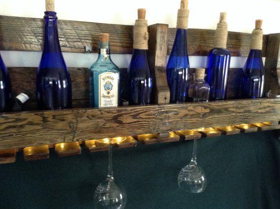 Lighted Reclaimed Wood Pallet Wine Rack by GeorgesGarage on Etsy, $80.00