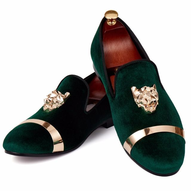Buy now Harpelunde Men Loafer Shoes Green Velvet Slippers Animal Buckle Dress Shoes Gold Metal Circle Flats Size 7-14 just only $96.00 with free shipping worldwide  #menshoes Plese click on picture to see our special price for you