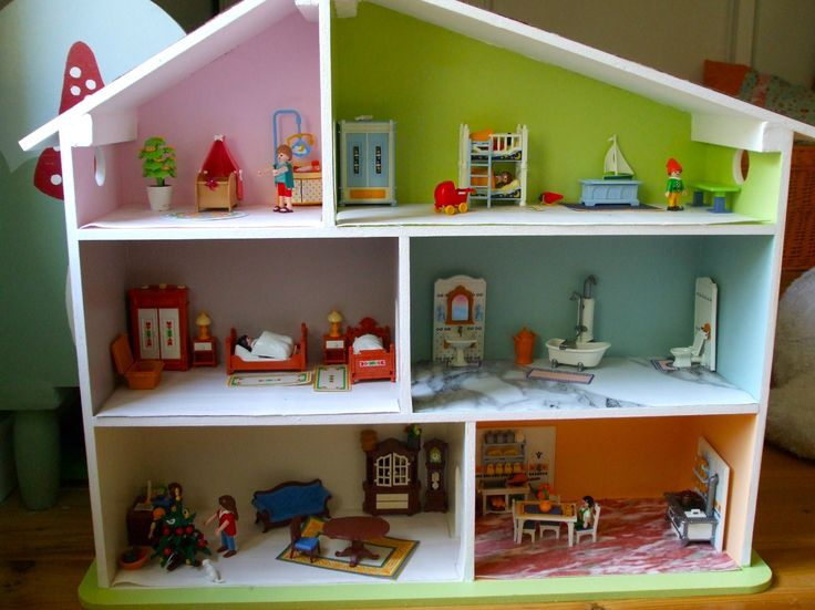 8 best maison playmobil images on pinterest doll doll houses and dollhouse miniatures - Maison playmobil en bois ...