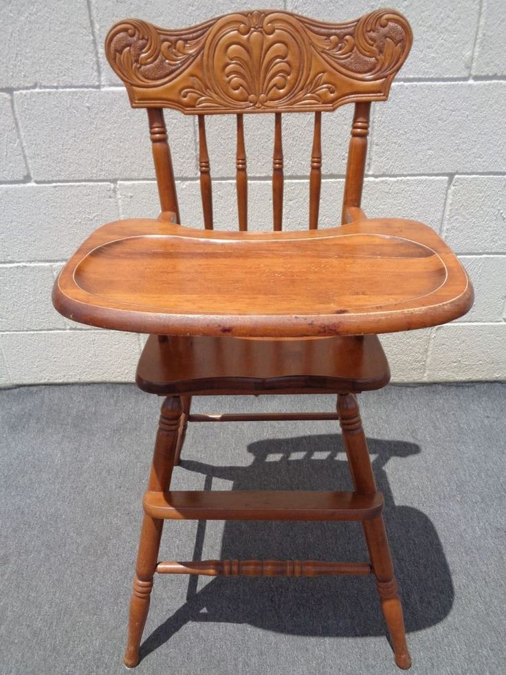 Vintage Wood Carved Back Furniture Oak High Chair Highchair - 7 Best High Chair Images On Pinterest Wood High Chairs, Wooden