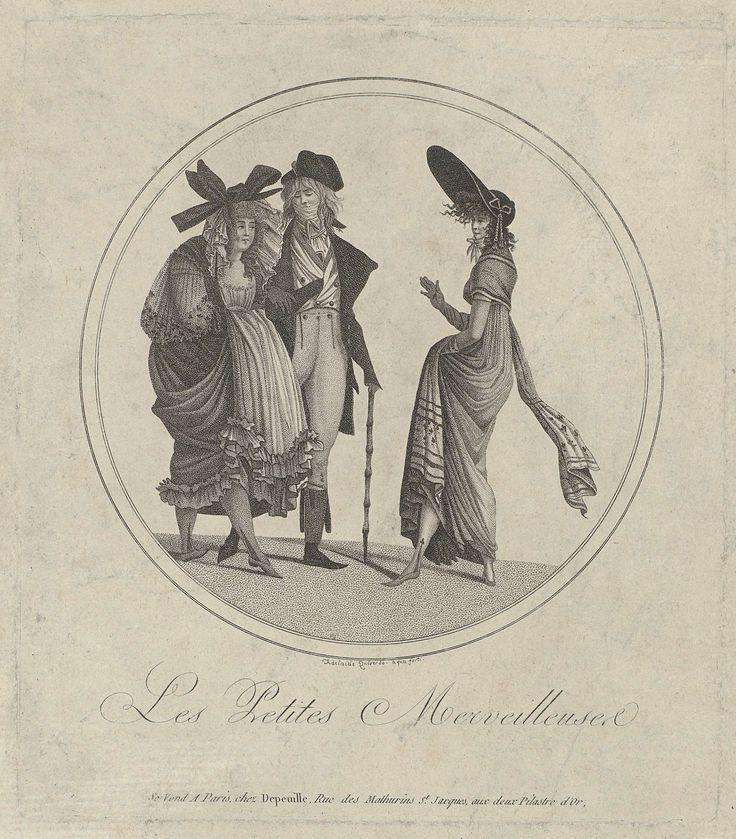 Adelaïde Queverdo | Les Petites Merveilleuses, Adelaïde Queverdo, Depeuille, 1797 | Een zogenaamde 'merveilleuse', gekleed in een japon, afgezet met een gerimpelde strook stof. Met de rechterhand houdt ze haar japon op. Kousen met contrasterende klinken. Muts met strik op het hoofd. Zij loopt gearmd met een 'incroyable', gekleed in een frak met grote revers, vest en kniebroek., een cravate om de hals.  Accessoires: steek, wandelstok, laarzen met puntige neuzen. Een tweede 'merveilleuse' is…