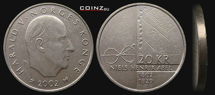 Norwegian Krone | 20 kroner 2002 Niels Henrik Abel - Norwegian coins