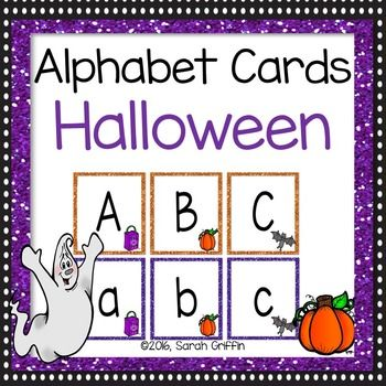 Halloween alphabet cards for flashcards, letter assessments, writing centers, word work, letter matching, letter identification, pocket chards, word walls and more!