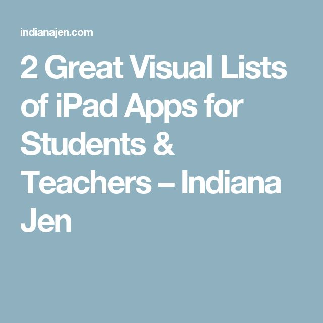 2 Great Visual Lists of iPad Apps for Students & Teachers – Indiana Jen