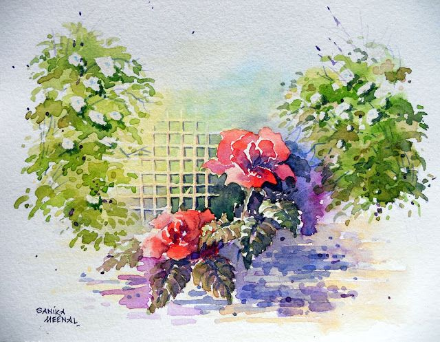 142 Direct Watercolour Floral Composition Composition Painting