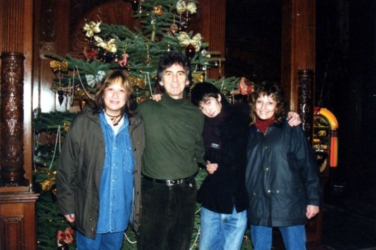 "George and Dhani Harrison with two fans from Argentina, Cecilia and Cristina, Friar Park. Image found via Beatle Photo Blog.  Presumably, these two ladies are also the ones who commented the following on the BBC website regarding the re-release of ""My Sweet Lord"" following George's passing:      ""A beautiful song that reminds us that God is the Only important thing in life. A message of love in a fighting world. Our Sweet Lord Bless you George."" - Cecilia and Cristina, Argentina, BBC, 15…"