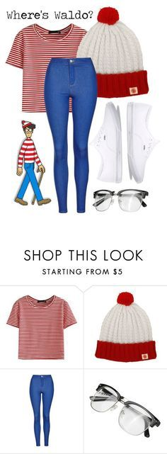 """""""Where's Waldo Halloween Costume"""" by mejfun on Polyvore featuring WithChic, Topshop and Vans"""