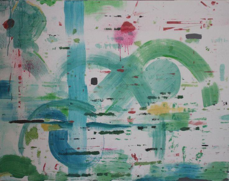 Green Beginnings Mixed media on linen 110 x 140 cm 2016