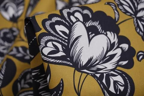 """Mustard Flowers"" Italian designer chartreuse/charcoal printed 100% cotton poplin"