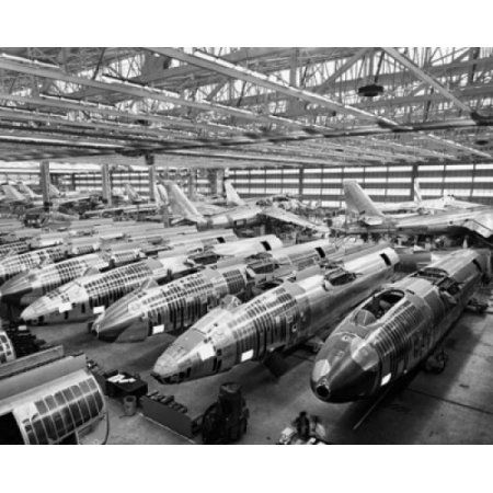 Incomplete bomber planes on the final assembly line in an airplane factory Wichita Kansas USA Canvas Art - (18 x 24)