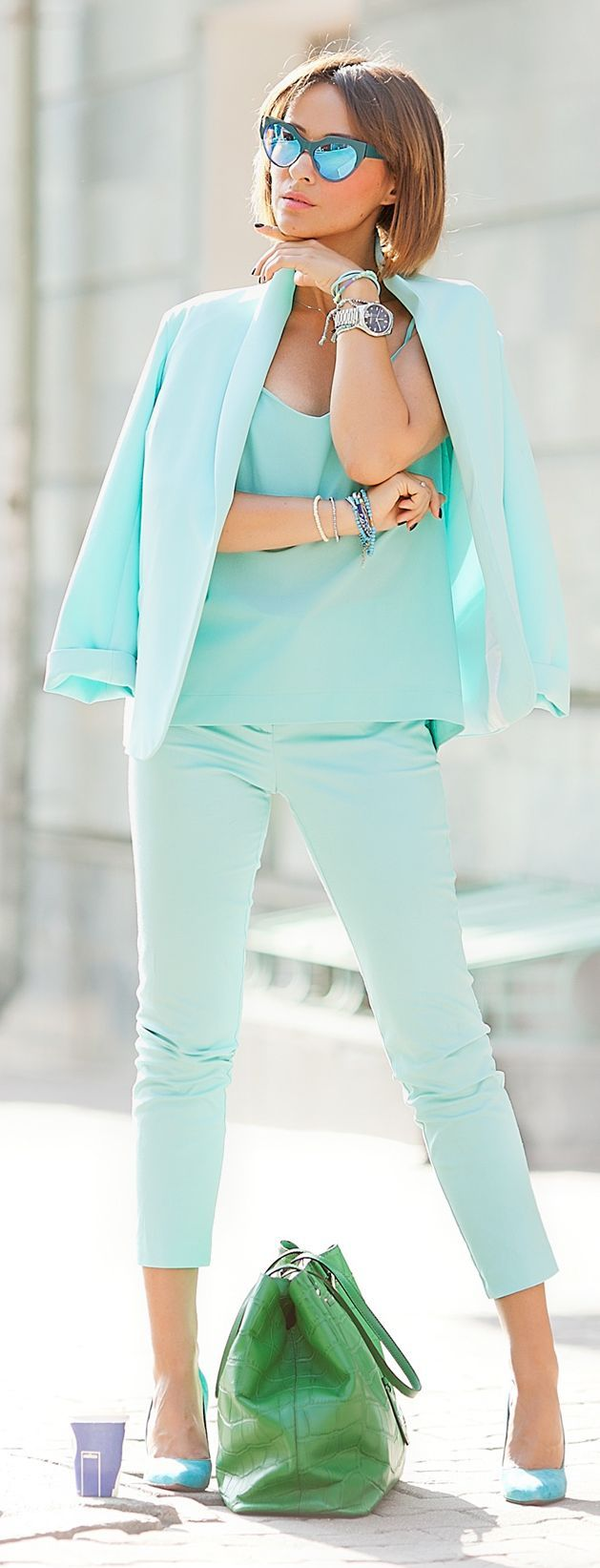 Galant Girl Blue Mint Preppy Outfit