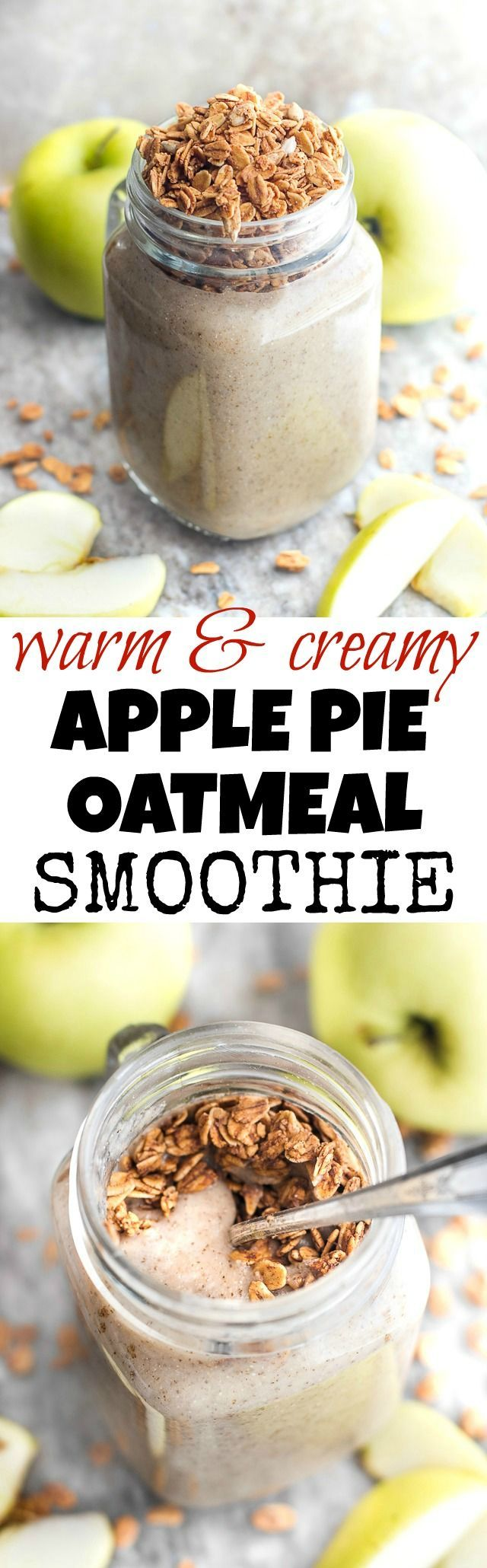 Enjoy the taste of apple pie for breakfast with this healthy apple pie oatmeal smoothie! Warmed up on the stove after blending, it makes a delicious and comforting breakfast or snack {vegan, gluten-free, refined-sugar-free} | runningwithspoons.com