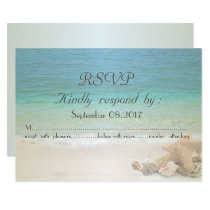 Beach Wedding Seashells  RSVP Card - summer wedding diy marriage customize personalize couple idea individuel