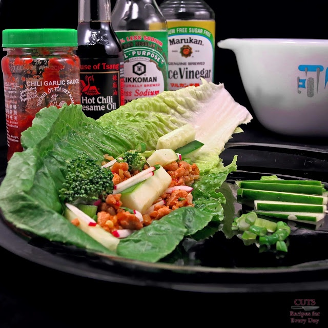 Quick Asian Chicken and Veggie Lettuce Wraps