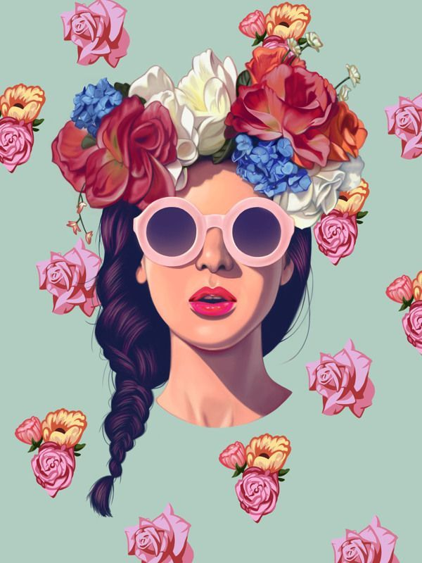 Gafas de sol redondas - Round sunglasses - Illustration - Flowers in the hair - Sunnies - Shades - Gafas de sol - Sunglasses