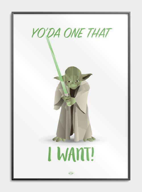 Den kære lille grønne Yoda fra Star Wars, med en twist af Grease indover! Yo'da one that I want! Se plakaten med den mindste og farligste jedi lige her!