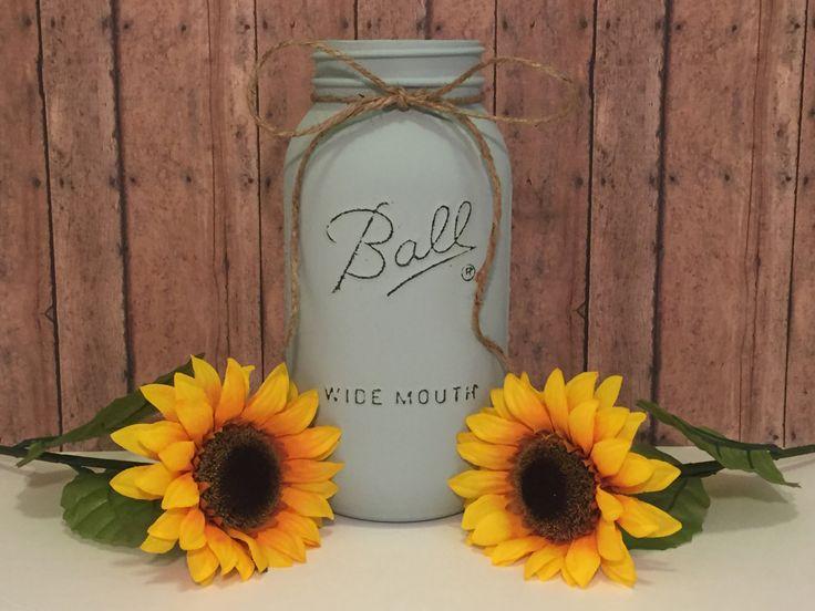 Half gallon mason jar, mason jar centerpiece, painted and distressed mason jar, rustic mason jar by SouthernRootsDecor on Etsy