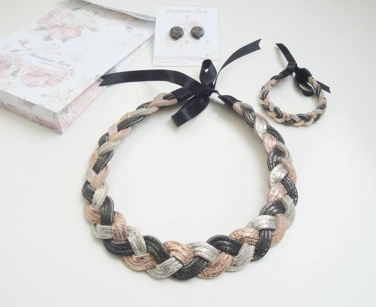Set piele (60 LEI la AccessoriesMaria.breslo.ro) #leather #necklace #earrings #handmade #jewelry #accessories #autumn #winter #collection